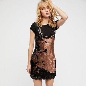 Free People Seeing Double Sequin Slip Dress NWT